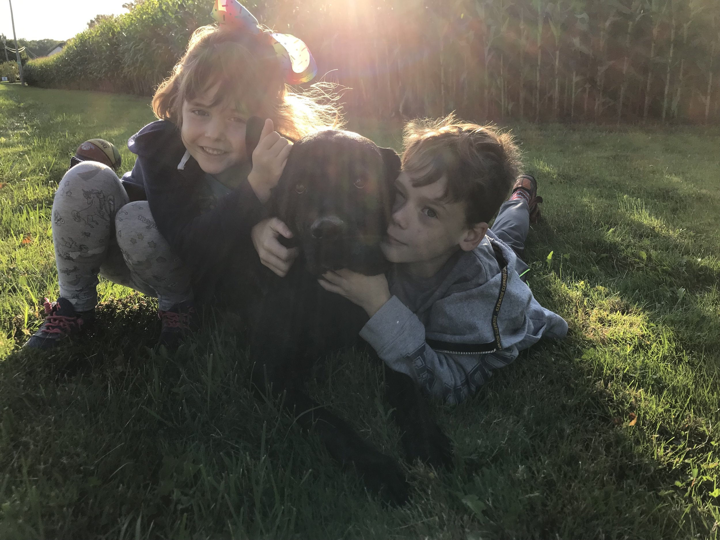 My kiddos with our own Sadie