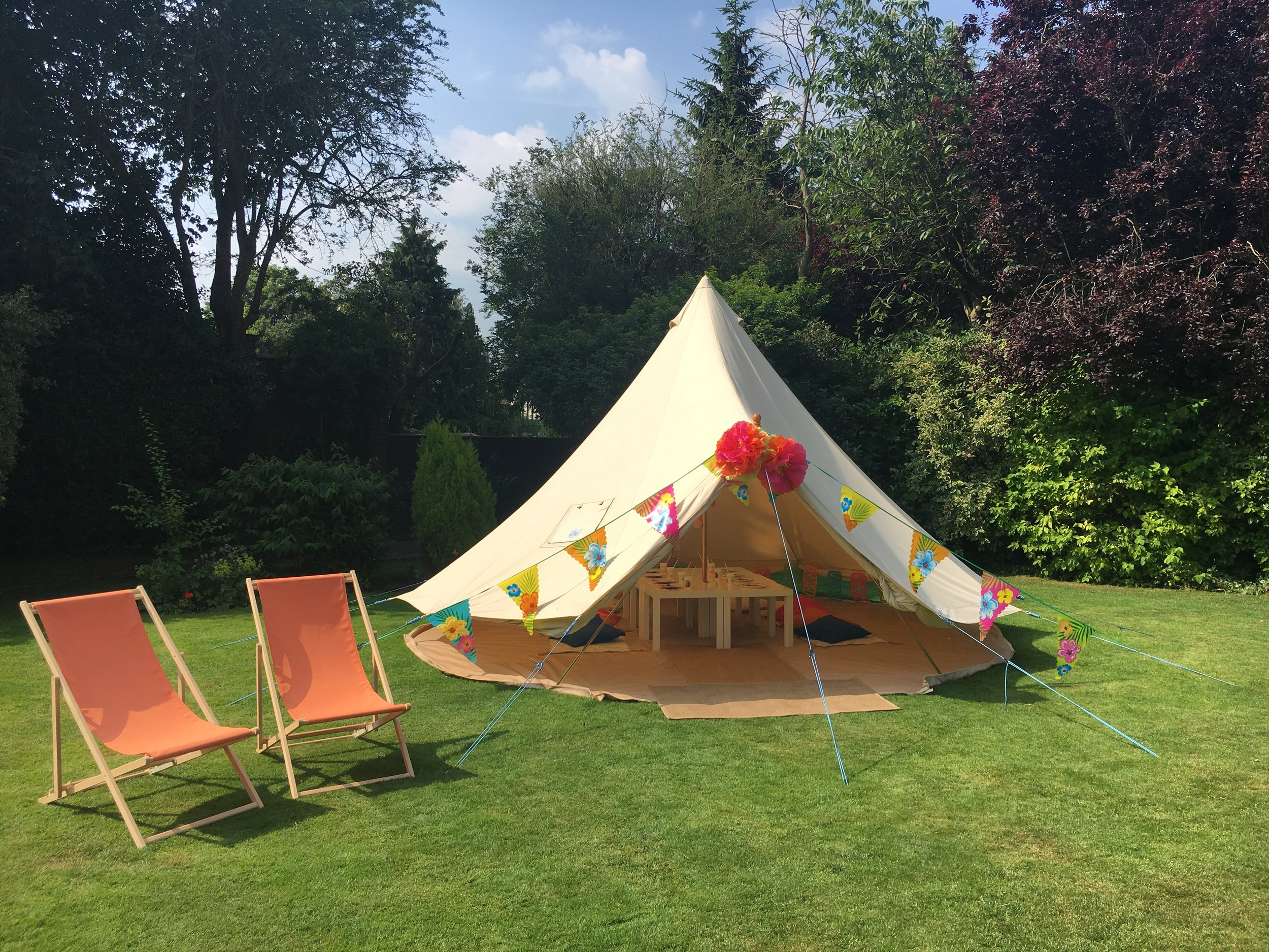 From £145 - Imagine your little ones face when you surprise them with a Bell Tent party in their back garden or party venue! Their own secret den/ fortress/big top/ princess castle for the day! Let their imaginations run wild as they play in and around the Beautiful Bell Tent with their friends.