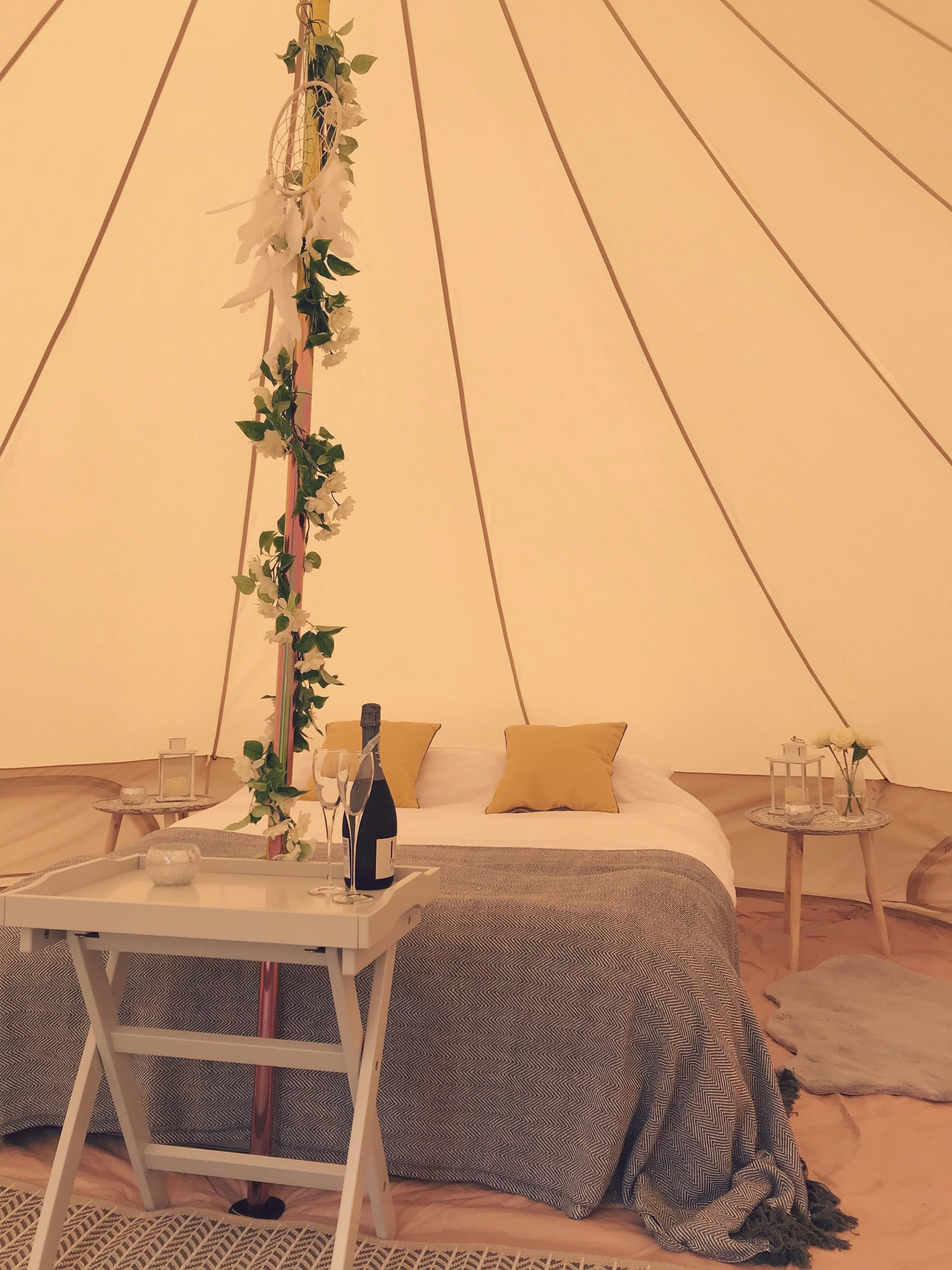 From £245 - There's nothing more romantic than spending a night under the stars and you can do just that in our luxurious Bridal Suite Bell Tent.Perfect if you're planning an outdoor or festival wedding and want to create amazing memories by experiencing glamping on your wedding night.