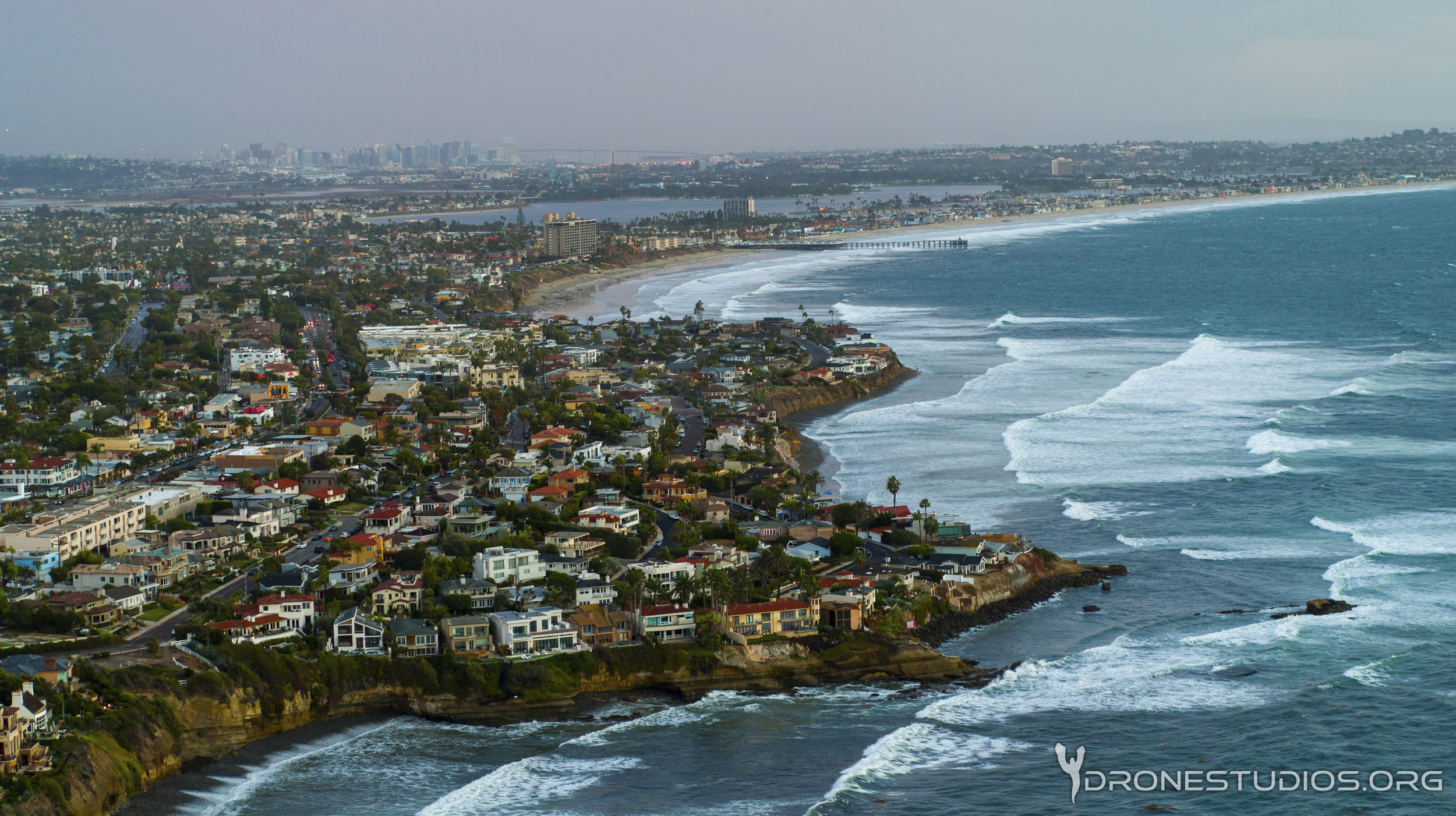 Drone photo of Bird Rock and Pacific Beach
