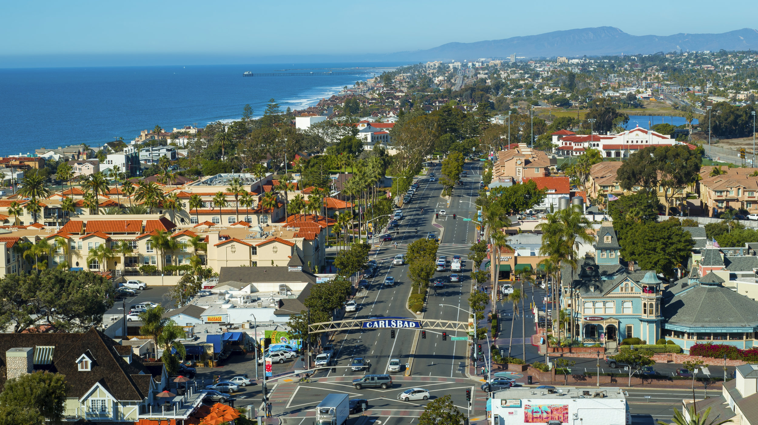 Aerial drone photo of Carlsbad Village