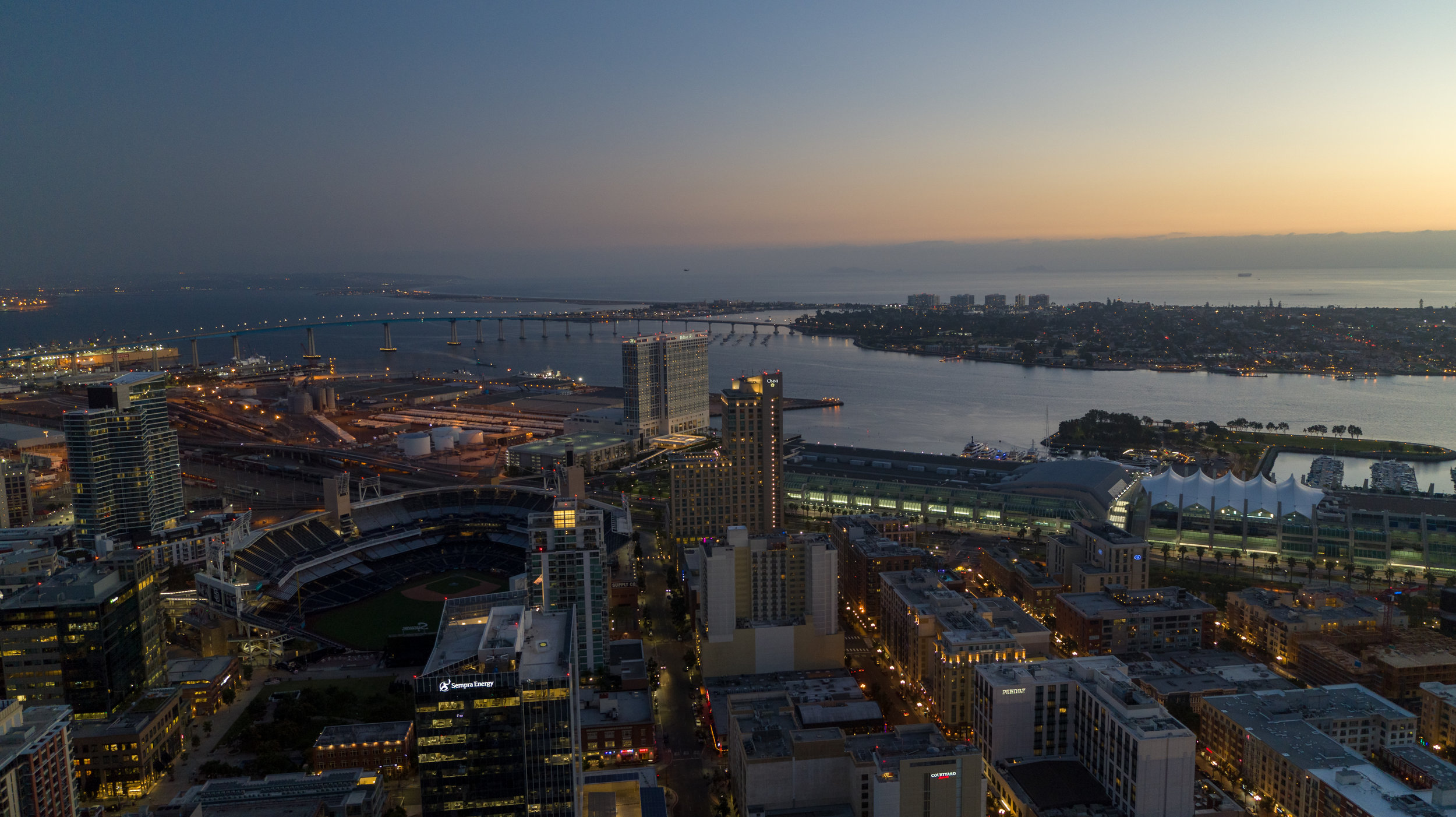 Aerial photography of Coronado Island and San Diego Bay