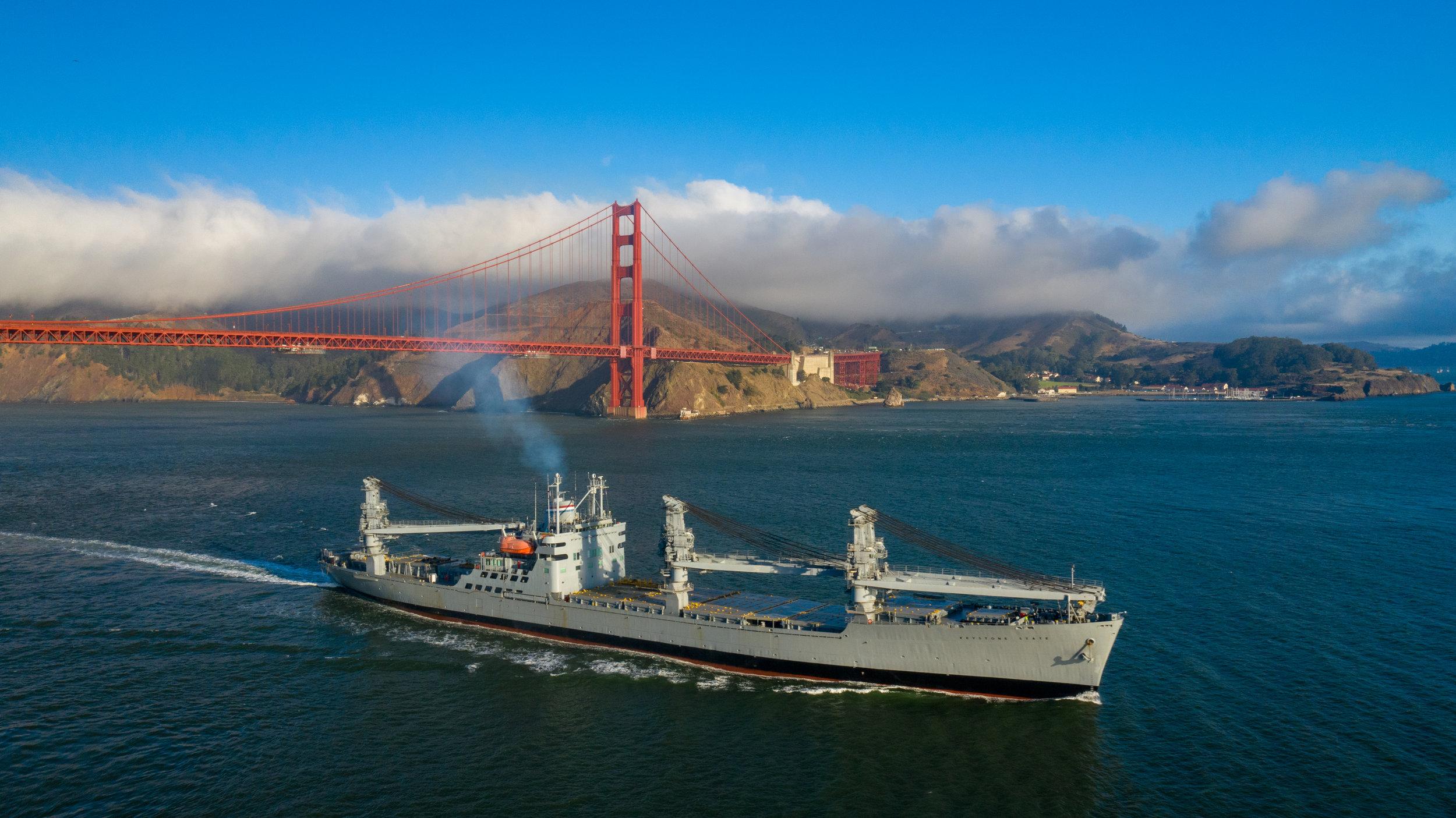 Aerial photography of ships at sea