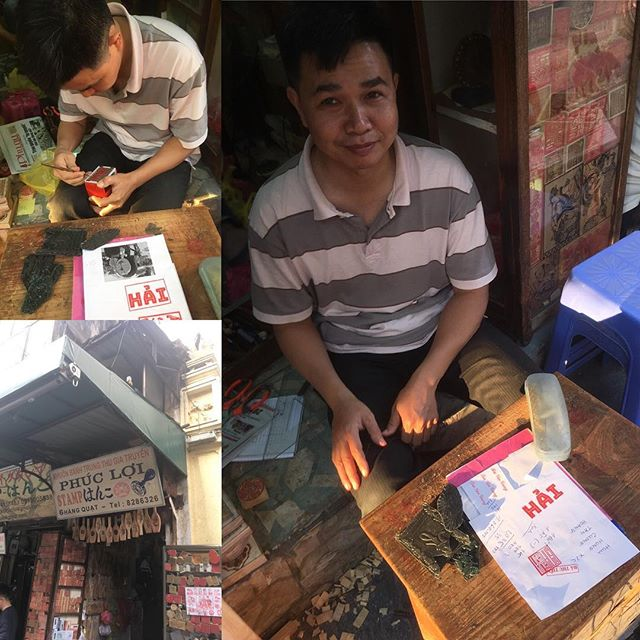 When in Hang Quat, Hanoi - make stamps! Coming to a takeaway bag near you.  Thanks Mr Phuc Loi #haicafe #hanoi #stamp