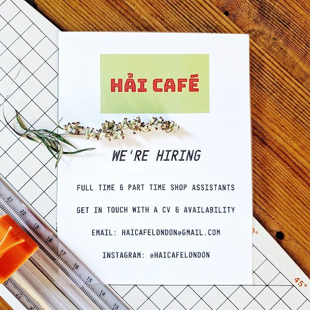 We're looking for cafe & kitchen staff to join the Hai family - part-time or full-time hours available we're flexible! 😁  If you have a passion for good food & love sharing it - we wanna hear from you!  More info here: www.hai-cafe.com/joinus  Send your CV to haicafelondon@gmail.com & a bit about why you'd like to join!  Ideally we're looking for people who are fairly local and available to start asap⚡