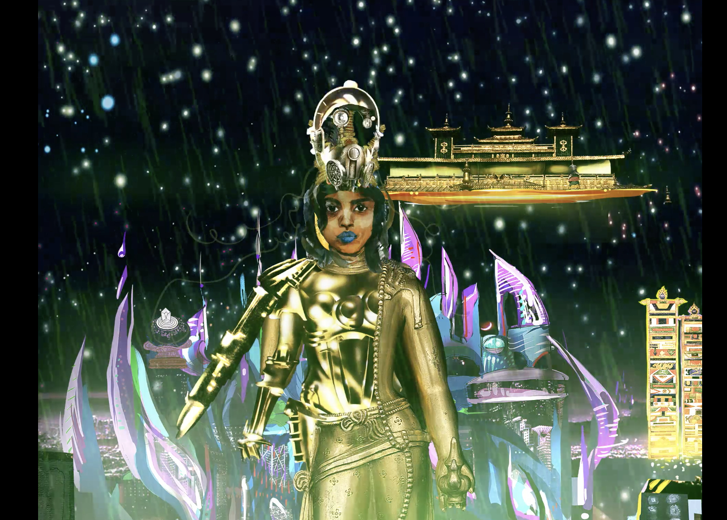 Chitra Ganesh, still from  Metropolis  (2018), digital animation (courtesy of the artist, animated and developed with the STUDIO, NYC.)