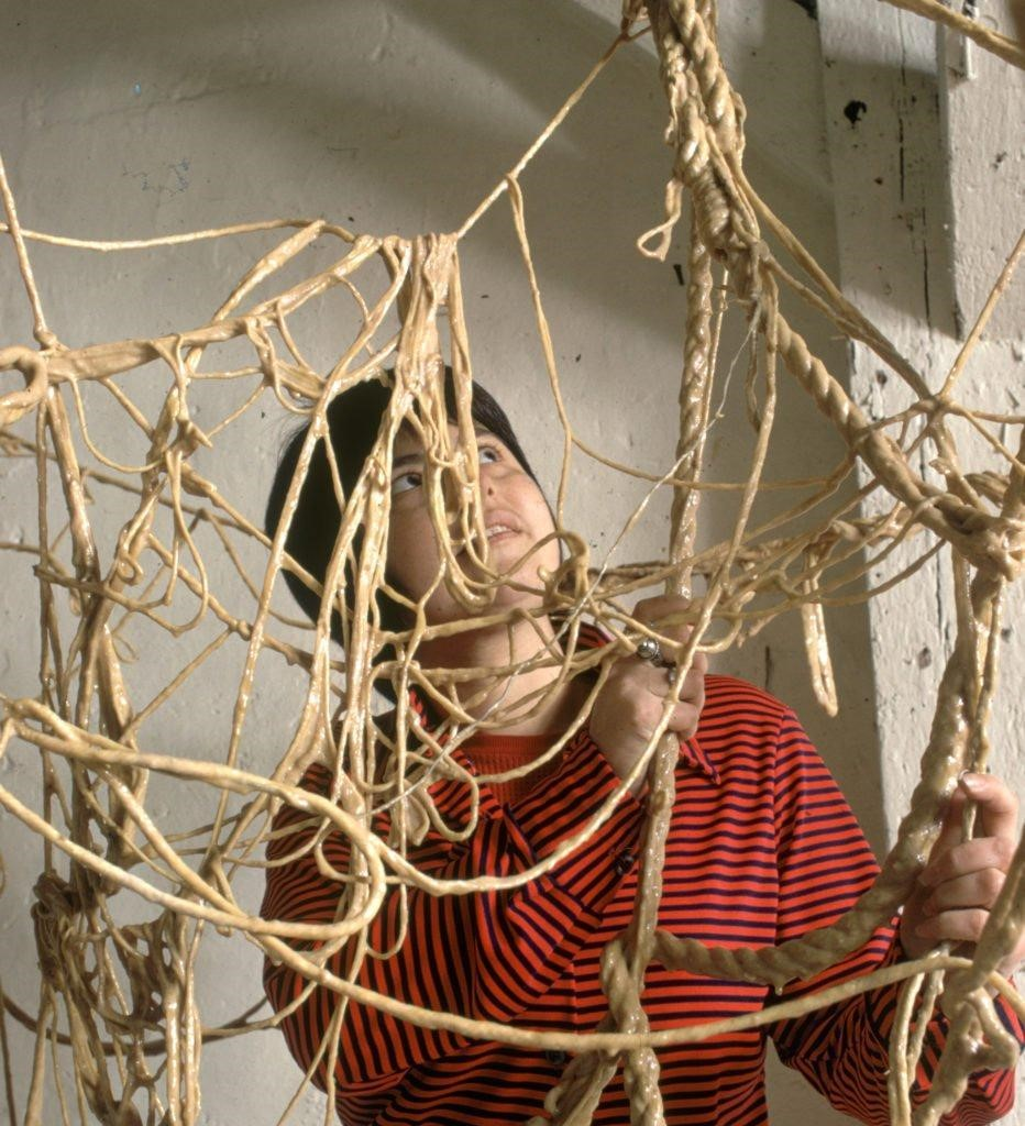 The artist Eva Hesse working on a sculpture in New York in 1969 . Photo by Henry Groskinsky/Time & Life Pictures/ Getty Images.