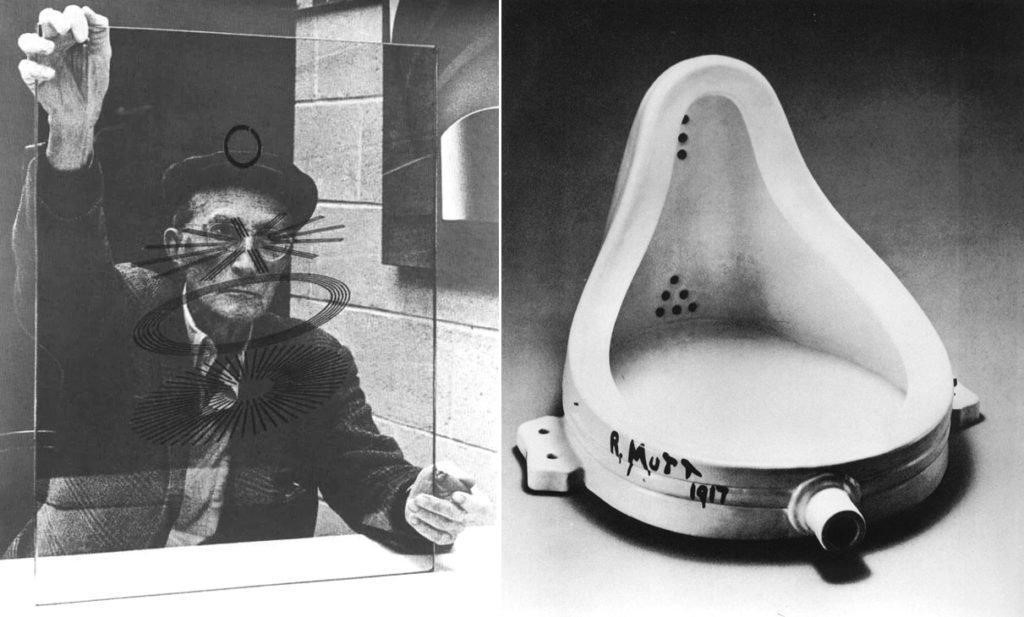 Left: Richard Hamilton, Marcel Duchamp (1967). © The estate of Richard Hamilton . Image courtesy of Tate.  Right: Duchamp's  F o u n t a i n  (1917). Courtesy Wikimedia.