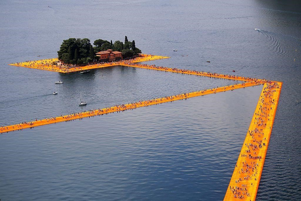 """The Floating Piers"" created by artist Christo Vladimirov Javacheff on Iseo Lake.  Courtesy of Marco Bertorello/AFP/Getty Images."