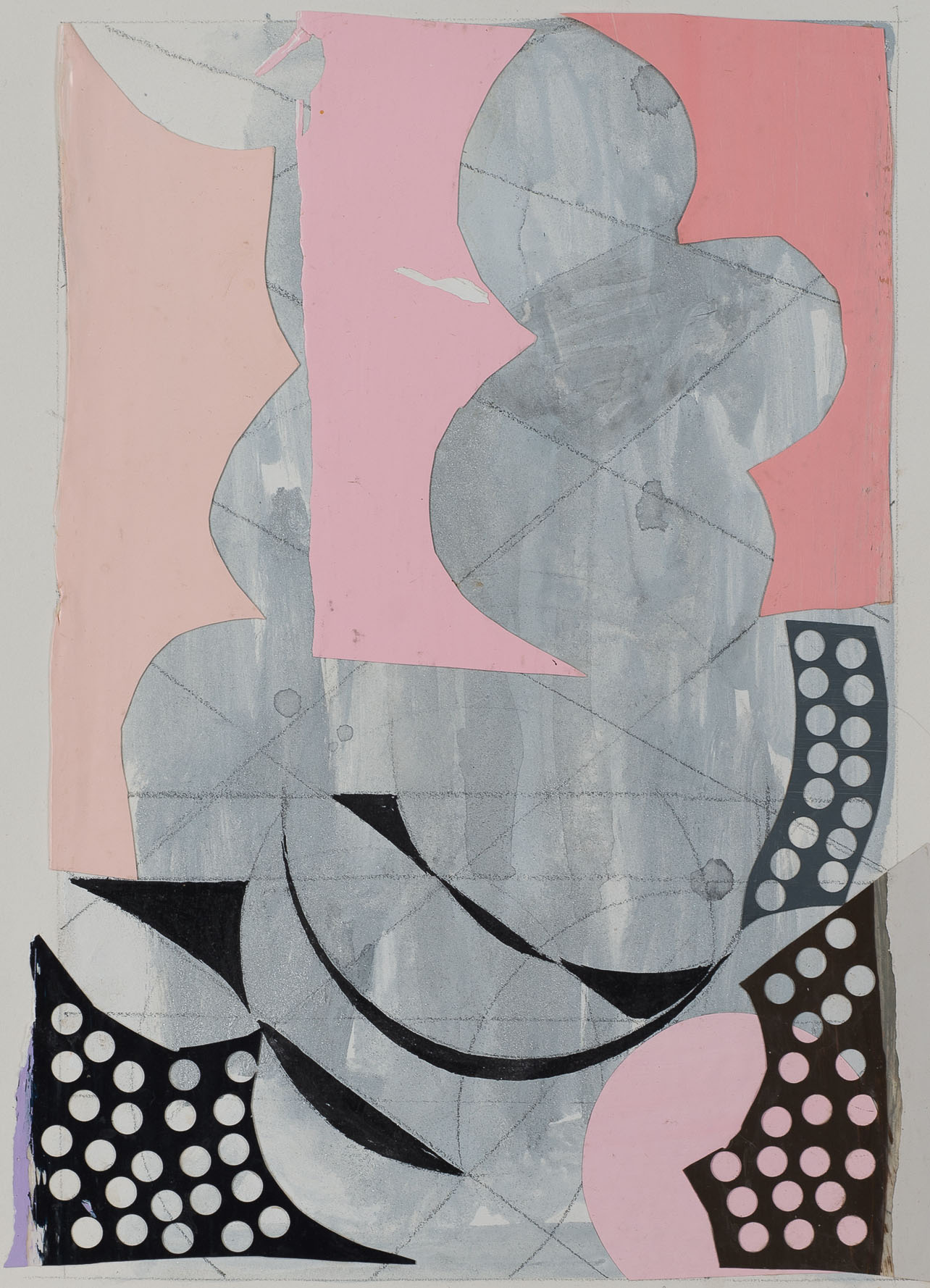 Peter Young,  #44 - 1989 , 1989, Acrylic and collage on paper, 15 x 11.5 inches (38.1 x 29.2 cm)