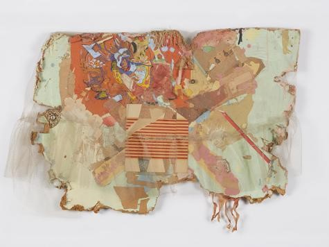 Bruce Conner:  Mexico Collage , 1962, netting, paper, paint, ink stamps, fringe, bell, and costume jewelry on Masonite, 23 by 32 by 5 inches. di Rosa Collection, Napa, California. © 2016 Conner Family Trust, San Francisco / Artists Rights Society (ARS), New York.