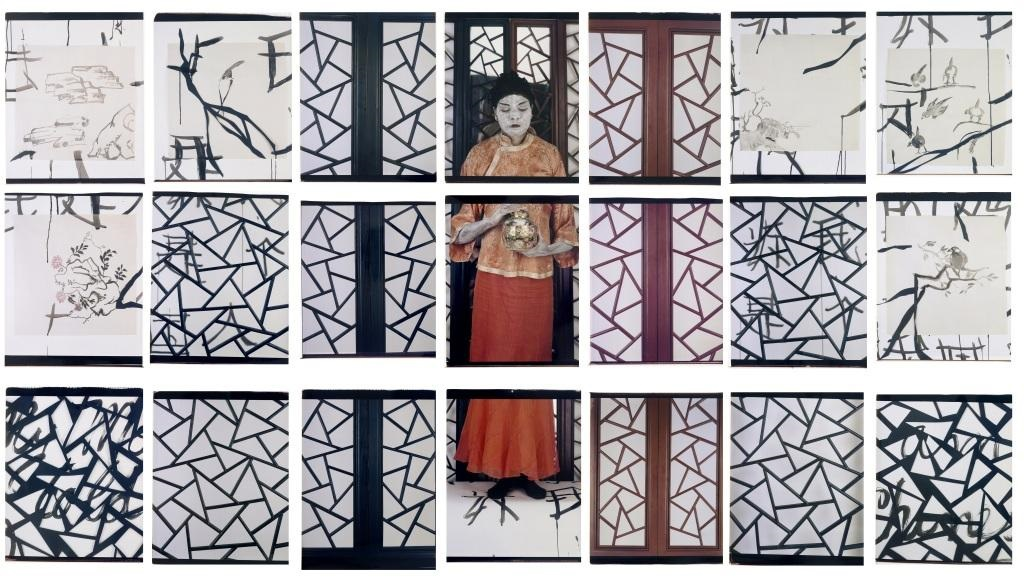 María Magdalena Campos-Pons,  My Mother Told Me I Was Chinese, The Painting Lesson,  2008, Composition of 9, Polaroid Polacolor #7 24 x 20 photograph, 90 x 168 inches (228.6 x 426.7 cm)