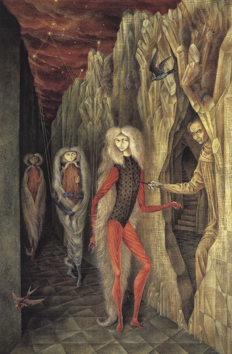 Remedios Varo,  Retrato del doctor Ignacio Chávez (Portrait of Dr. Ignacio Chávez) , 1957, Oil on masonite, 37 x 24 inches (93 x 61 cm)