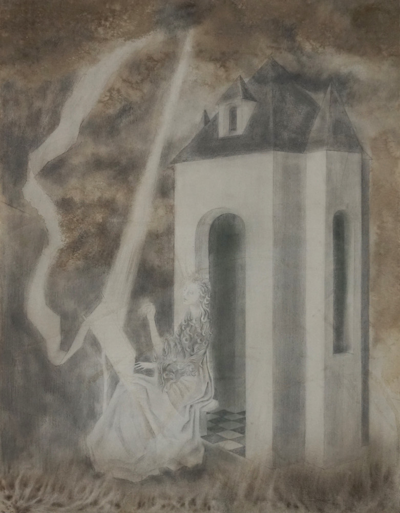 Remedios Varo,  Tejedora , 1956, gouache, charcoal and pencil on paper, 20 1/2 x 16 inches (52 x 41 cm)
