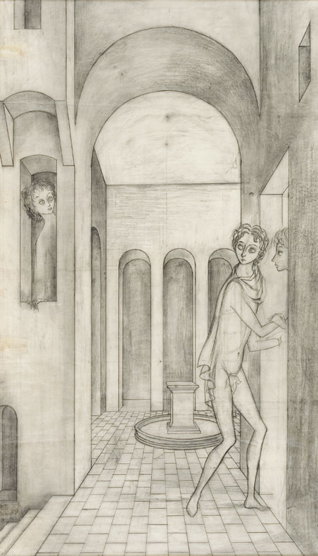 Remedios Varo,  El Encuentro (The Encounter) , 1959, Pencil on paper, 28 x 16 inches (71 x 41 cm)