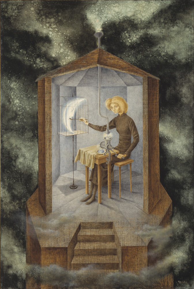 Remedios Varo,  Papilla estelar , 1958, Oil on board, 36 x 24 inches (91 x 61 cm)
