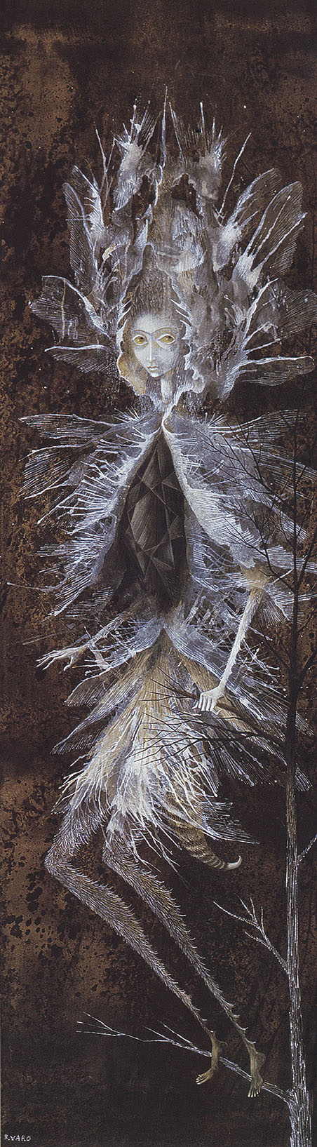 Remedios Varo,  La mujer libélula (Dragonfly Woman),  1960, Oil and gouache on masonite, 26 x 8 inches (65 x 19 cm)