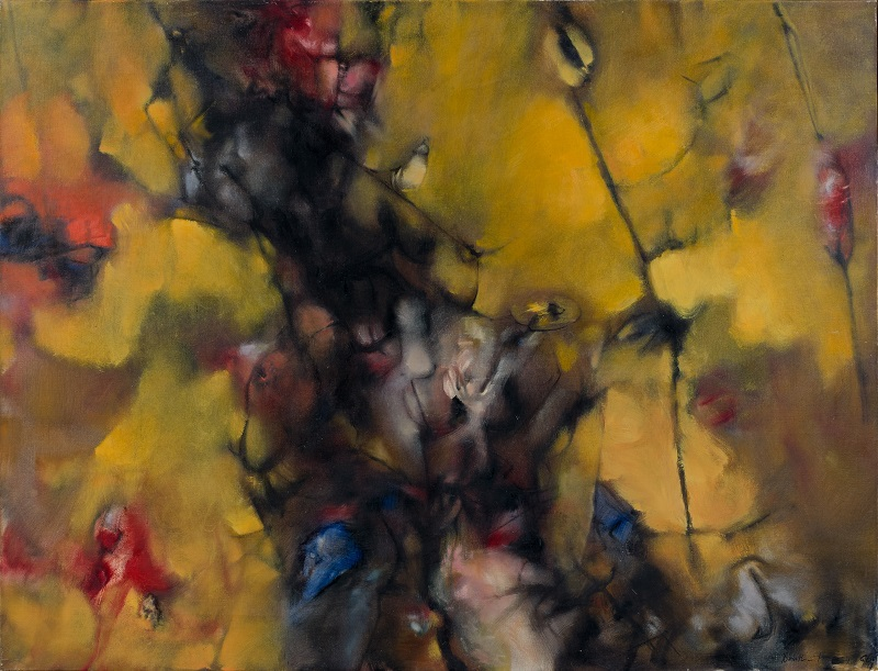 Dorothea Tanning,  Visite jaune (Visite éclair) , 1960, Oil on canvas, 35 x 45 inches (89 x 116 cm)