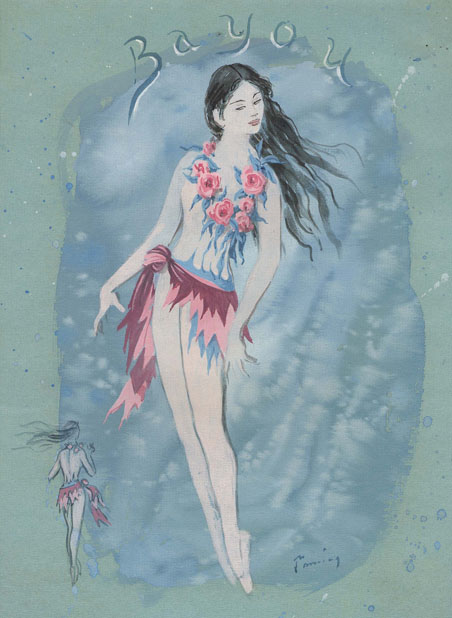 Dorothea Tanning,  Costume Design for Bayou,  1950, Gouache on green paper, 12 1/4 x 9 inches(31 x 23 cm)