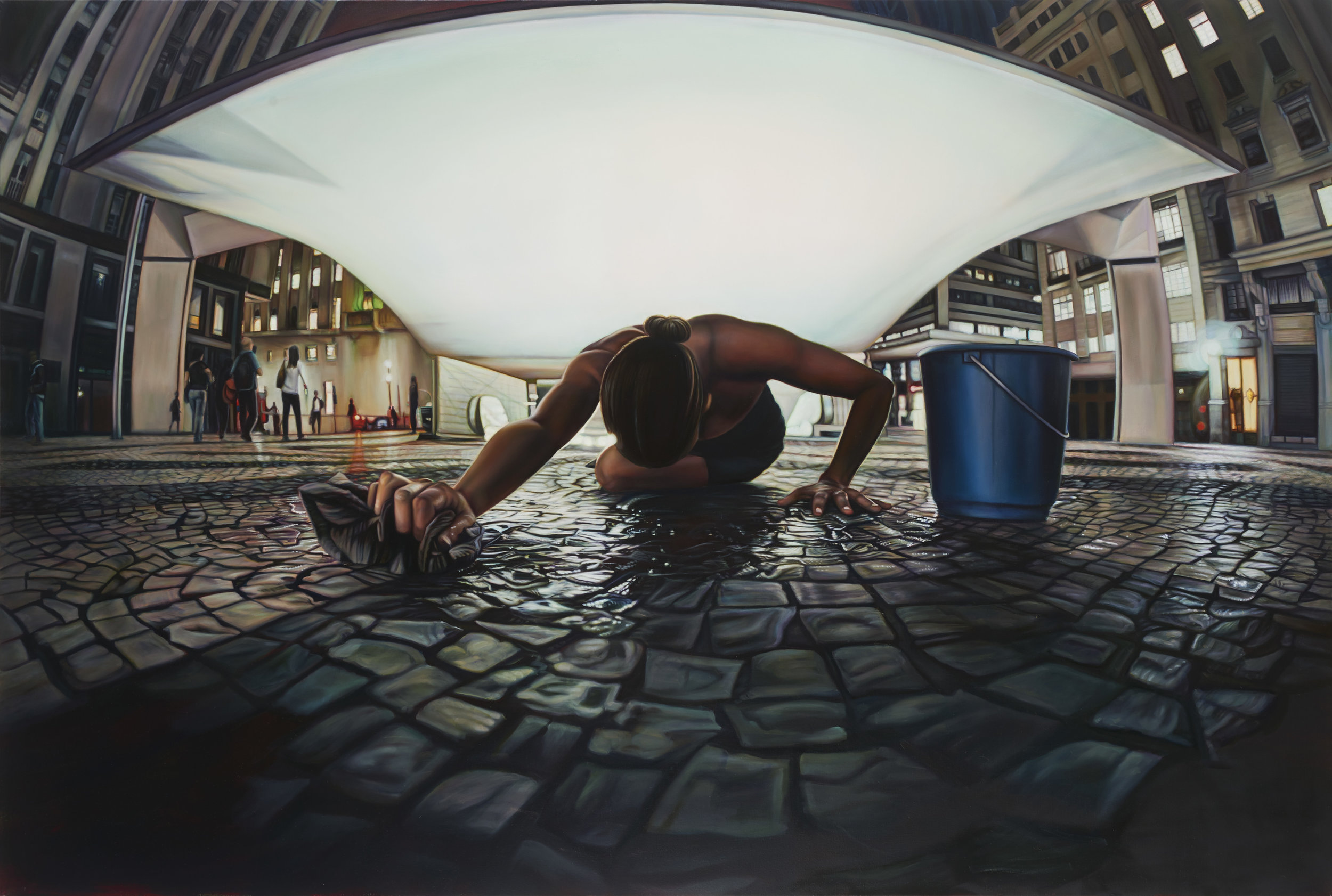 Ana Teresa Fernández,  Untitled (performance documentation in São Paulo Brazil in Plaza Patriarca),  2015, Oil on canvas, 56 x 84 inches (142.2 x 213.4 cm)