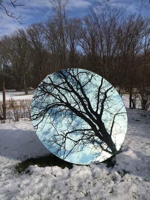 Eva Schlegel,  Single Circular Mirror,  inclination Angle 72°, diameter 94.5 inches (240cm)