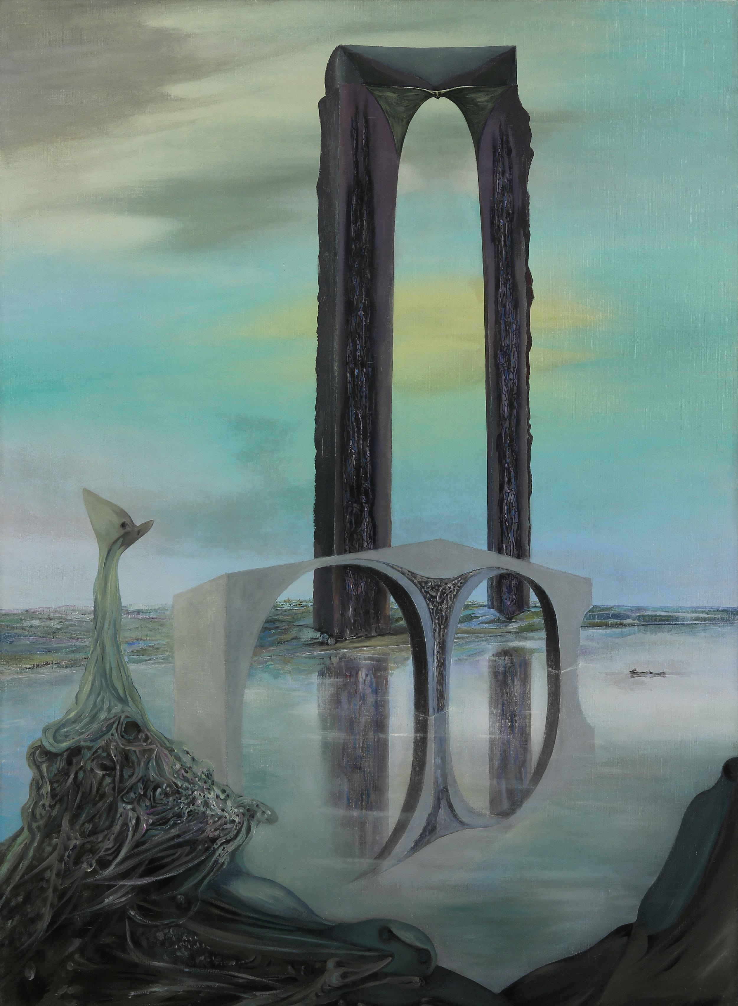 Wolfgang Paalen,  La balance – rêve interprété, vue gothique (The Balance – Interpreted Dream, Got) , 1937, oil on canvas, 39 x 28.5 inches (99 x 72.5 cm)