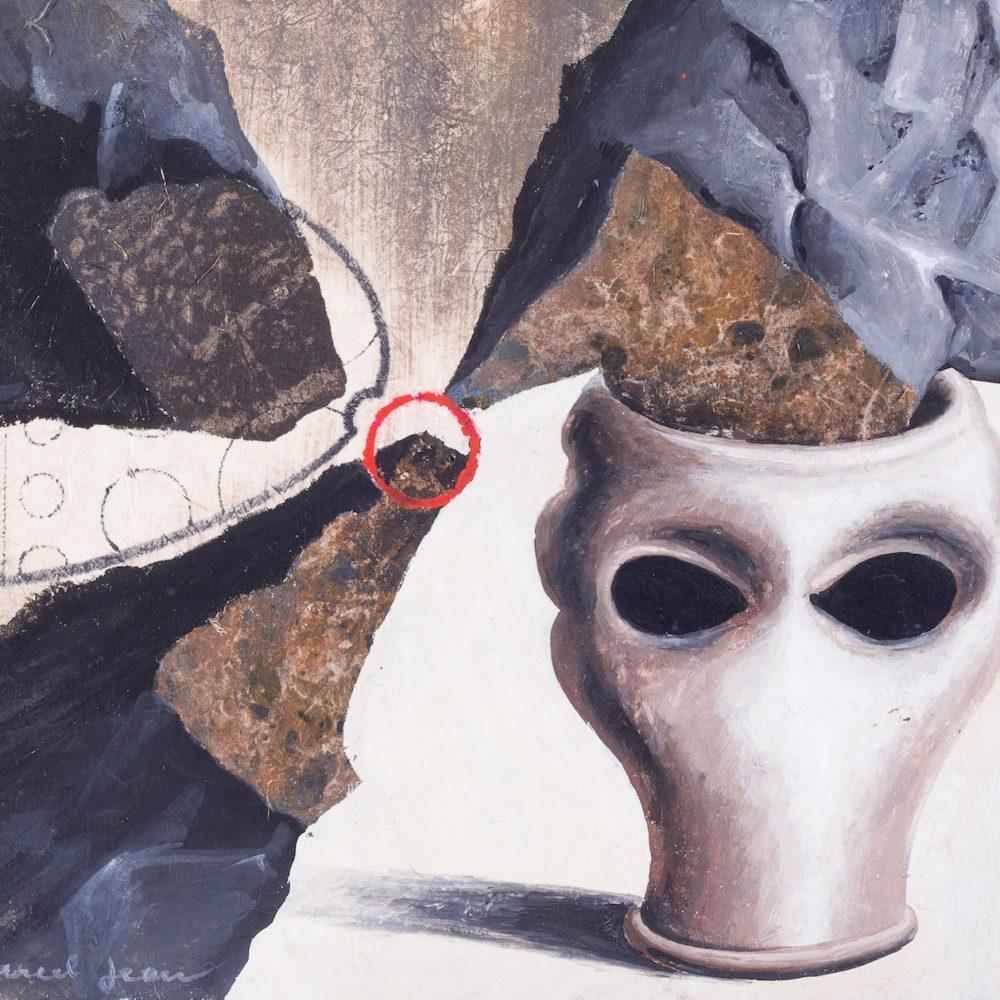 Marcel Jean,  Conductibilité des roches mères,  1974, Gouache and flottage on masonite, 8 5/8 x 7 1/4 inches (22.5 x 19 cm)