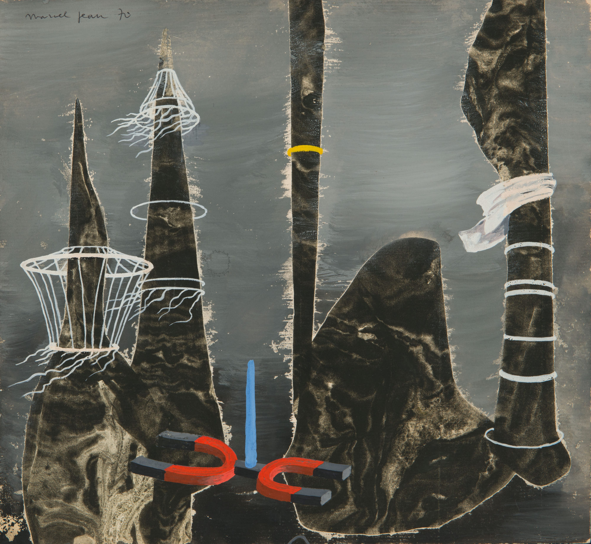 Marcel Jean,  Sonde Magnetique,  1970, Gouache and flottage on masonite board, 9 9/16 x 10 5/8 inches (24.4 x 27 cm)