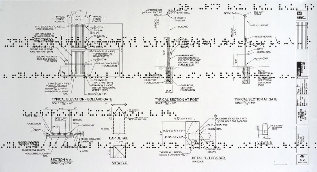 Guillermo Galindo.  Typical Secret Document (A) , 2015; Mixed media on double sided cut paper.  Courtesy of the Artist and Magnolia Editions, San Francisco.