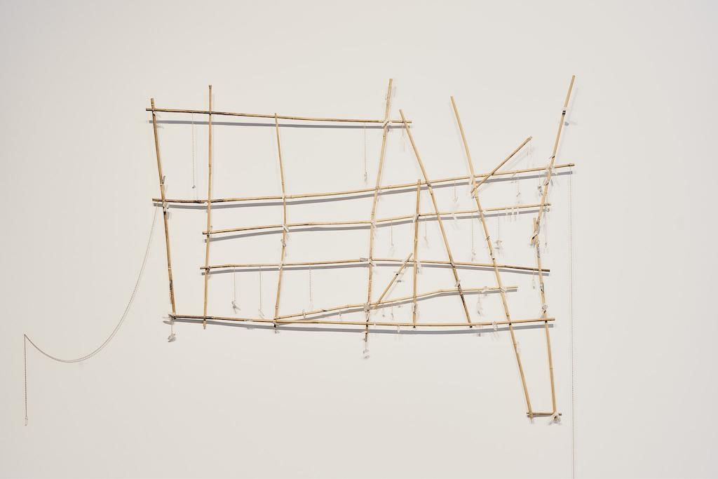 Michael Arcega.  Prih-Sohn Stick Chart (Map of isolation chambers) , 2015; Bamboo, metal, and quartz crystals; 60 x 48 x 3 in. Courtesy of the Artist and Gallery Wendi Norris, San Francisco.