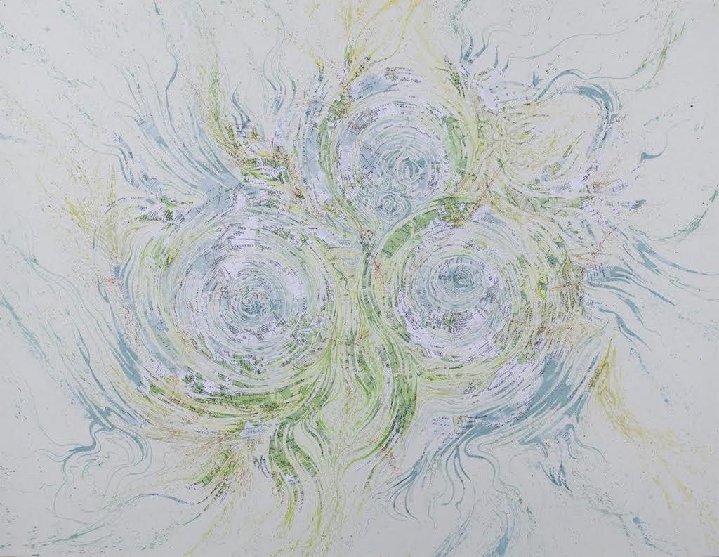 Mark Garrett.  Three Arctic Cyclones , 2014; Collage and watercolor; 30 x 39 in. Courtesy of the Artist.
