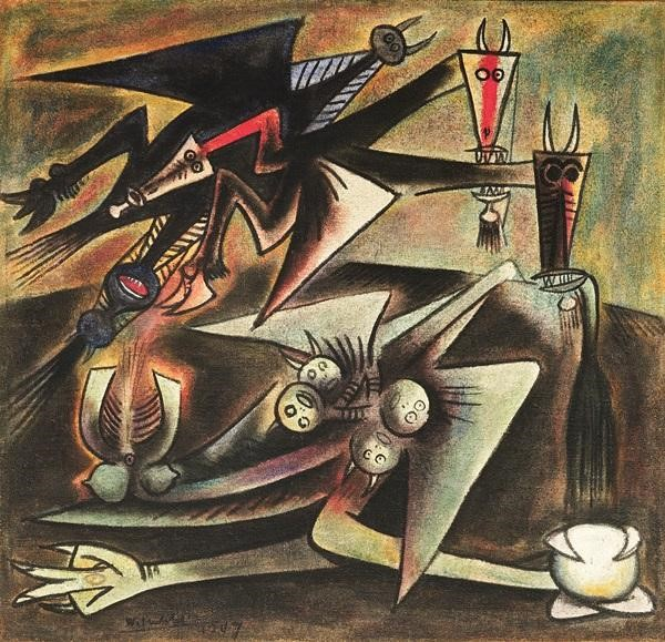 Wifredo Lam  Présages  (1947) was the top selling lot at Phillips, selling for  $2.6 million on an estimate of $2 –3 million.  Image: Courtesy of Phillips.