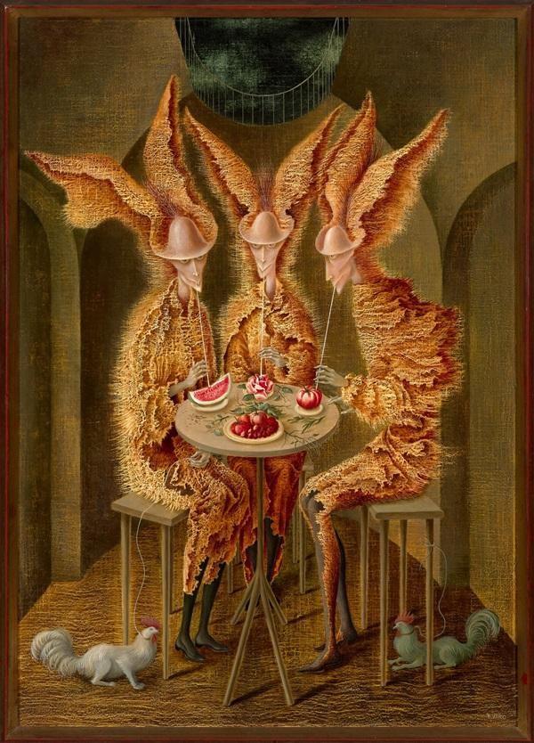 Remedios Varo's  Vampiras vegetarianios  (1962), sold for $ 3.3 million at Christie's (estimate: $1.5 –2 million).  Image: Courtesy of Christie's.