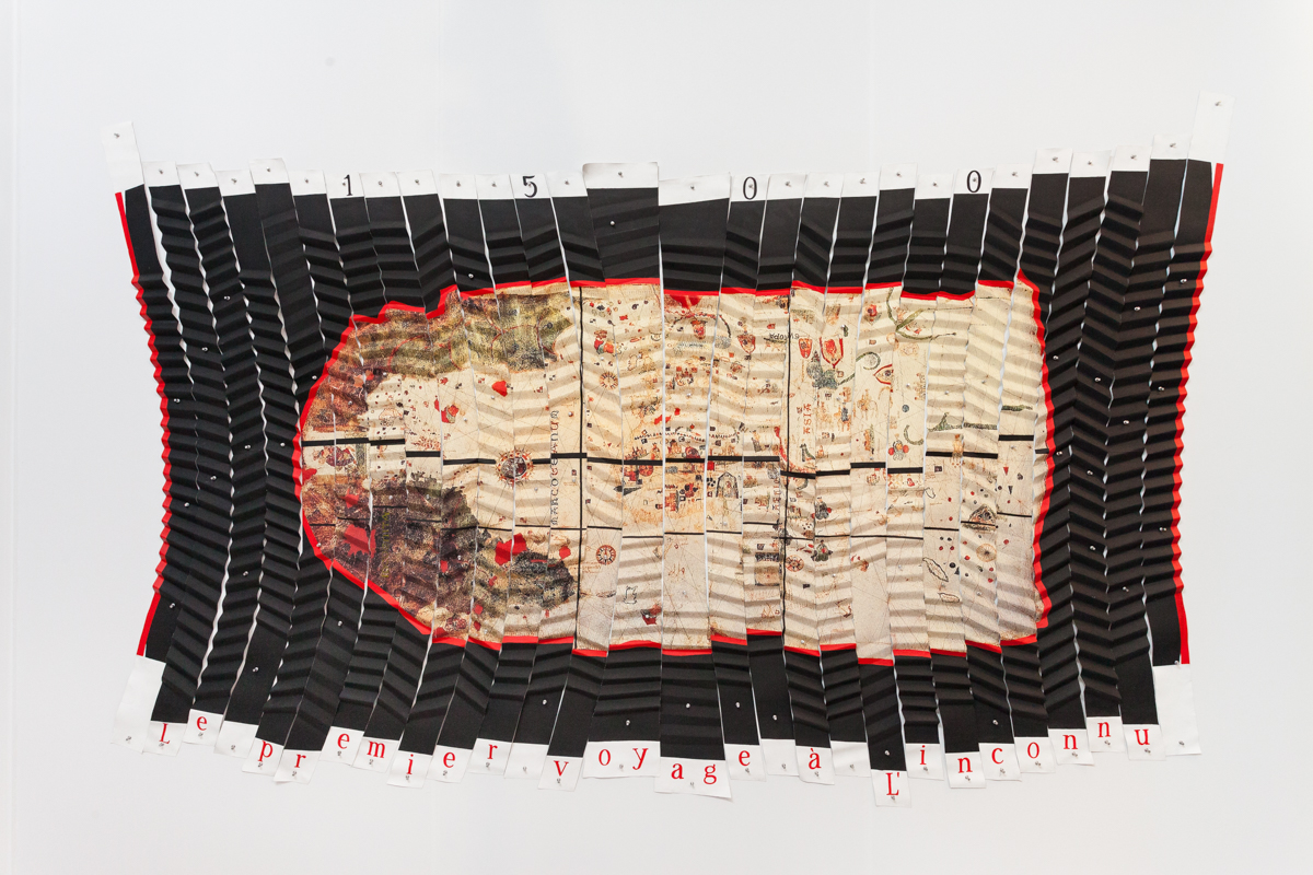 Miguel Angel Ríos,  Le Premier Voyage a L'inconnu , 1992-93, Cibachrome mounted on pleated canvas with push pins, 63 x 126 inches (24.8 x 49.6 cm)