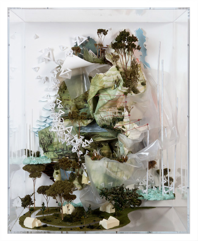 Gregory Euclide,  As if muting the land was part of knowing,  2012, acrylic, eurocast, foam, goldenrod, hosta, moss, paper, pencil, plastic, sedum, wood, zip tie, 26 x 19 x 9 inches (66 x 48.25 x 23 cm)