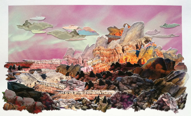 Mary Anne Kluth ,   Master Study, Green River Wyomin,  2013, hand cut archival photo collage, 20 x 12 1/2 inches (51 x 31.8 cm)