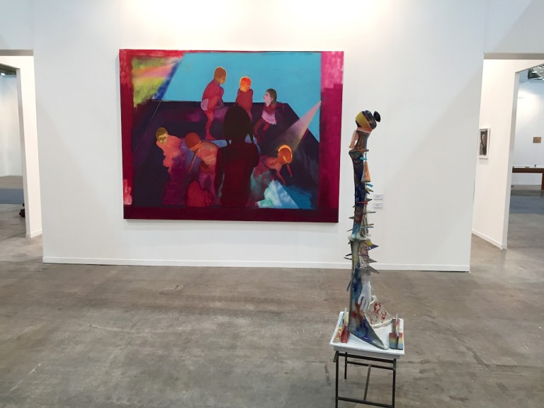 """For a section focused on performance, there were a surprising number of galleries showing painting. Los Angeles gallerist  Marc Foxx  was exhibiting paintings and a sculpture by Italian artist Alessandro Pessoli. His brightly-colored canvases and rough-hewn ceramics take classical source material, cut them up, and re-assemble them in a collage-like process. """"There's an overarching concept that's not strict necessarily, so its easy for artists to respond to it in different ways,"""" Foxx remarked on the Sur section. """"Some artists are very literal, other are pushing what those boundaries are. It gives the fair a kind of gravity that most other fairs don't have. There's a reason these things have been brought together and you feel it. That's unusual."""""""