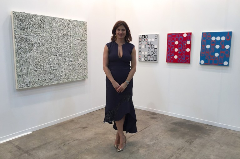 Wendi Norris  from San Francisco had brought work by LA-based painter Helen Rebekah Garber. Her thickly-impastoed monochromatic oil on canvas works recall a range of sources from African masks to Richard Pousette-Dart's transcendental paintings (though Norris assured me that Garber was previously unaware of his work). Newer paintings based on Middle Eastern poetry were crisp and colorful — hard-edged text-based abstractions. These resonate with the fascination with books, literature and poetry that can be seen in much contemporary Mexican art.