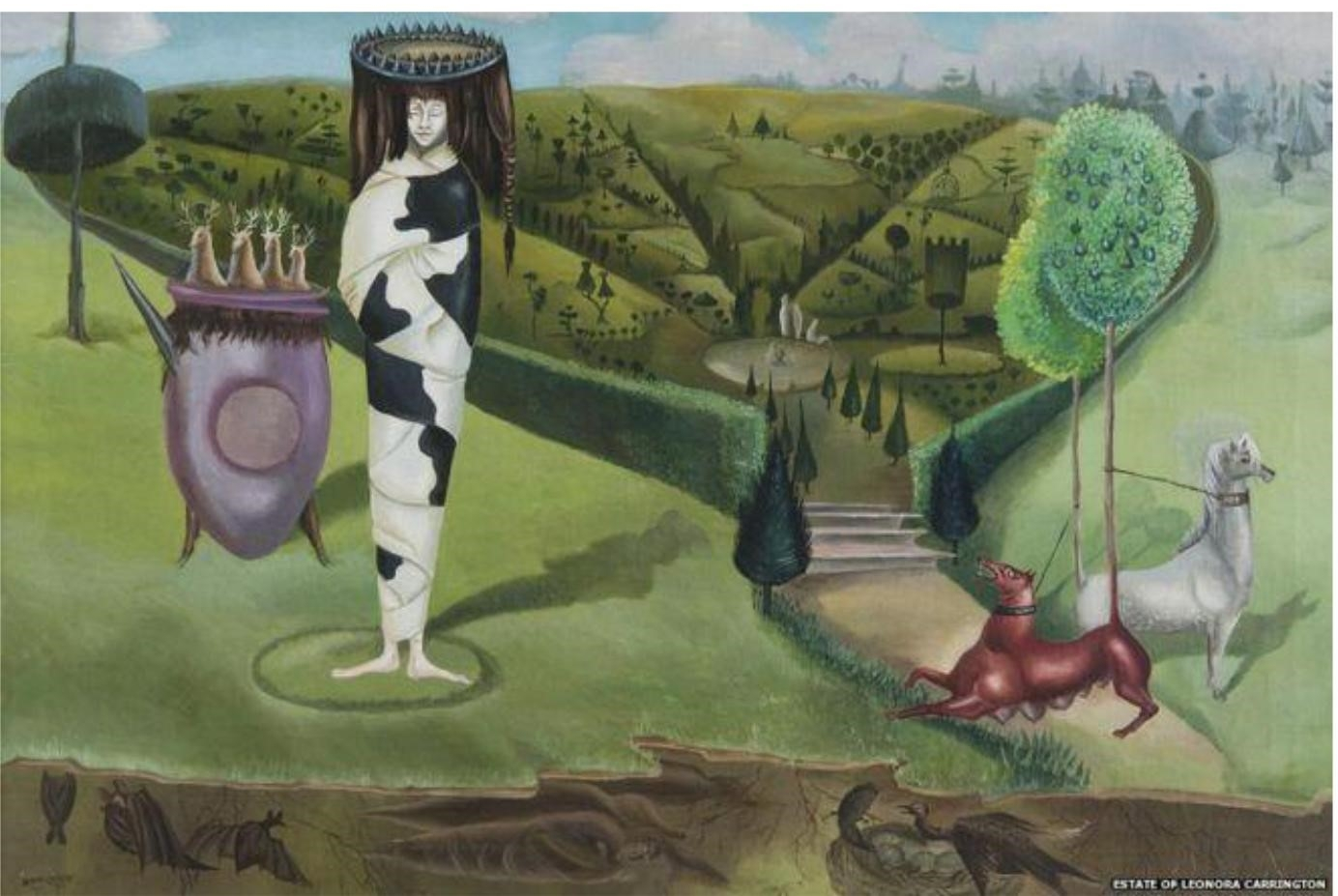 """""""Mexico City in the mid-20th Century was an extremely creative and experimental climate, affording her opportunities to experiment in tapestry-making, writing, design for theatre and film, and collaborations with photographers,"""" says Ms Barnes.  The artist's move, she added, represented an even greater 'awakening' than her first exposure to surrealism in London and the traditions and culture of Mexico chimed with the themes surrealists were already exploring - particularly those surrounding death and religion.  """"It's a place that the surrealist Andre Breton described as 'the surrealist place par excellence' and she was absolutely fascinated by its culture,"""" she says.  """"The belief of the co-presence of the living and the dead that you see in celebrations like the Day of the Dead and the multitude of beliefs that worked together like Catholicism and Christianity was [part] of her work.  """"She was someone who was hugely excited by Mexican history and culture and the way she explored it and reflected it in her work went down well in Mexico.""""  Carrington was part of a group of predominantly Mexican artists commissioned to produce works to reflect the country's culture.  The result was that despite not being so well regarded in her home country, she virtually became a national treasure in her adopted country.  """"She was really seen as a Mexican artist,"""" adds Ms Barnes. """" She was commissioned to paint this incredible mural for Mexico's National Museum of Anthropology because she was really seen in that way."""""""