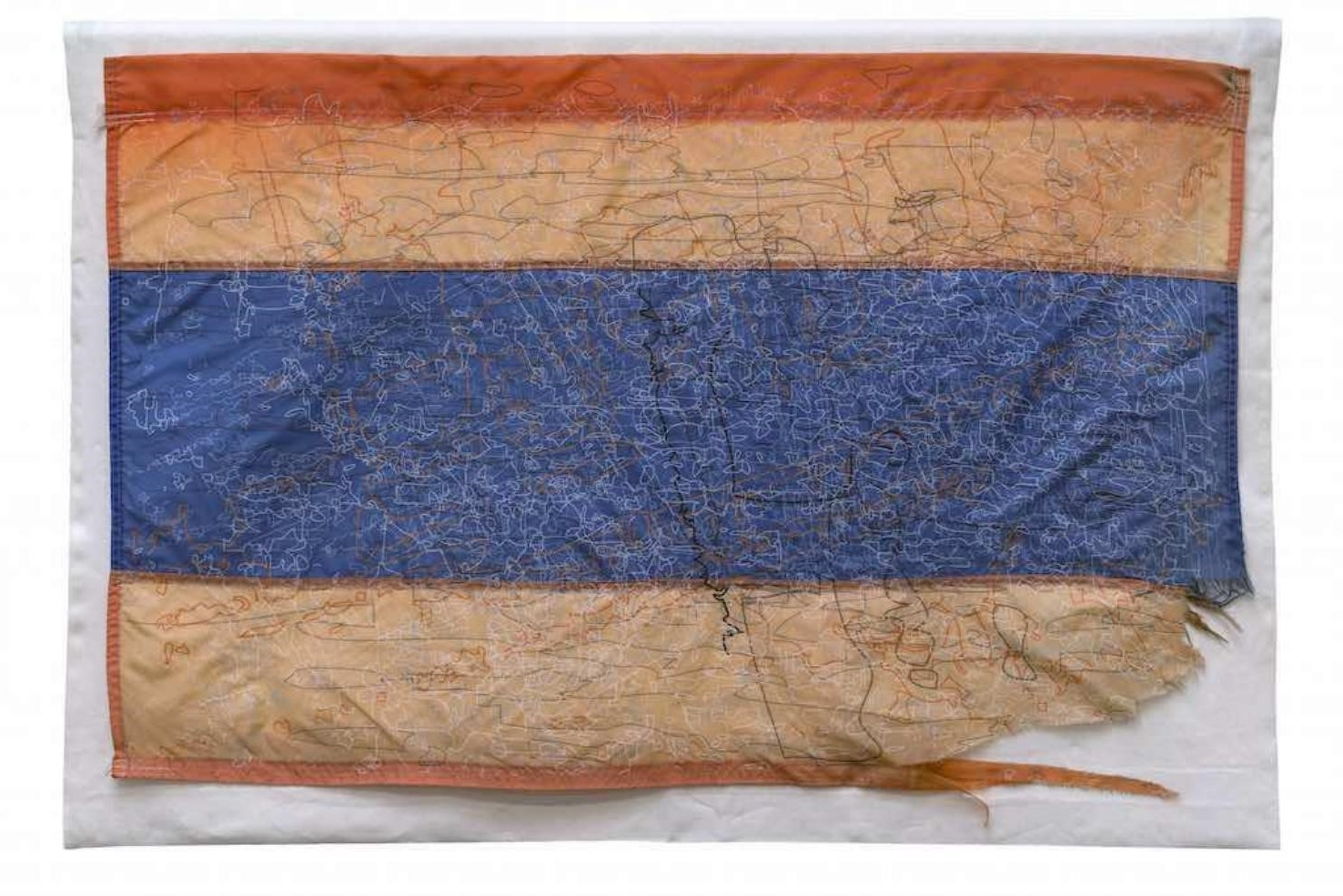 Guillermo Galindo.  Siguiendo Los Pasos del Niño Perdido , 2017; Acrylic on beacon flags used by humanitarian aid group Water Stations; 30 x 47 in. Courtesy of the Artist, Gallery Wendi Norris, San Francisco, and Magnolia Editions, San Francisco