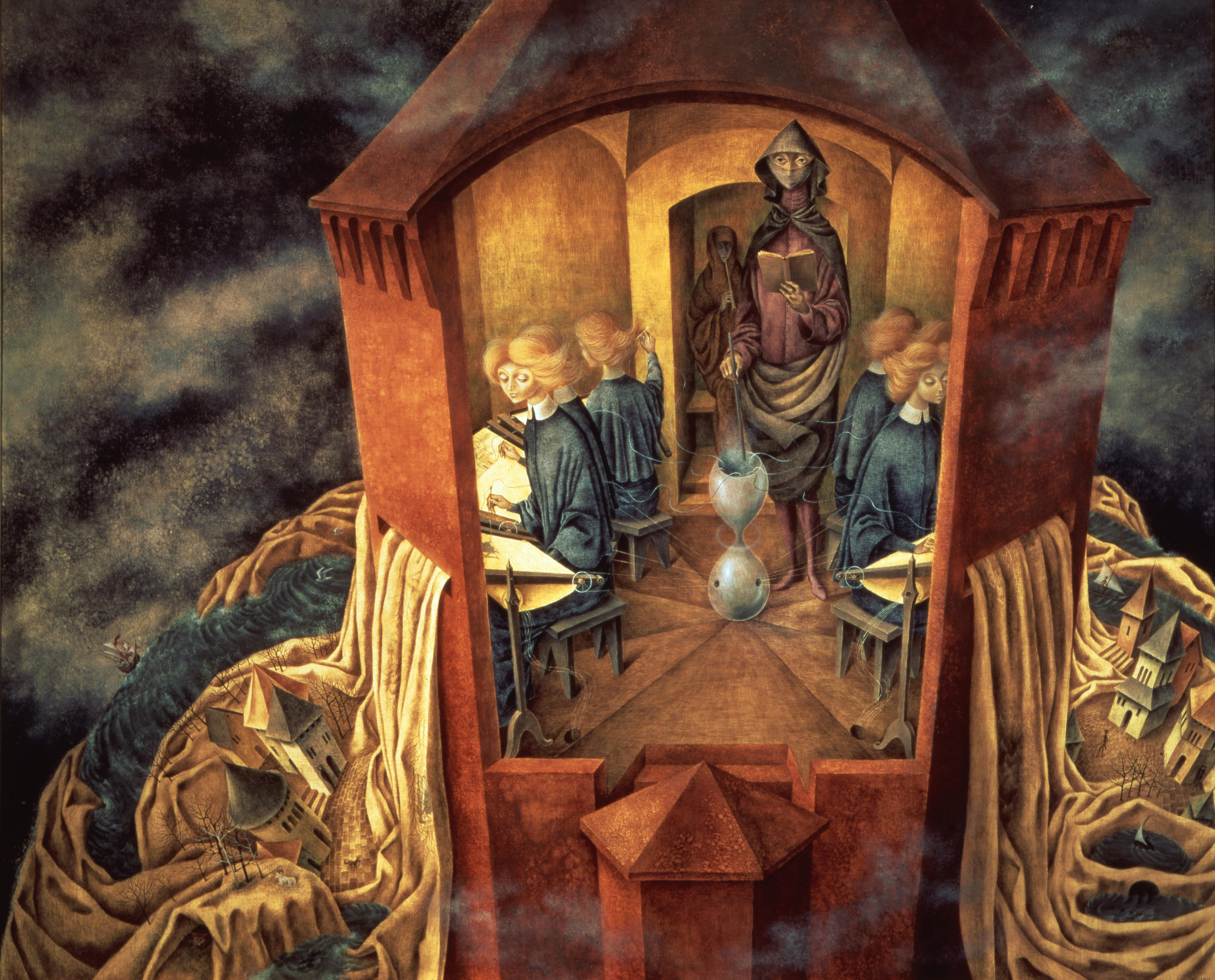Remedios Varo,  Bordando el manto terrestre (Embroidering the Earth's Mantle),  1961, Oil on masonite, 39 1/2 x 48 1/2 inches (100 x 123 cm)