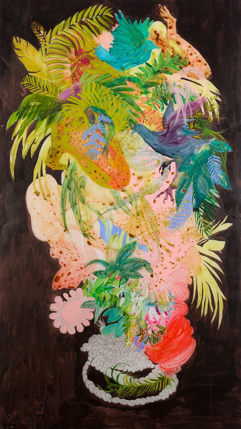Firelei Báez, Untitled, 2014, acrylic on vellum, 74 x 42 inches (188 x 106.7 cm)