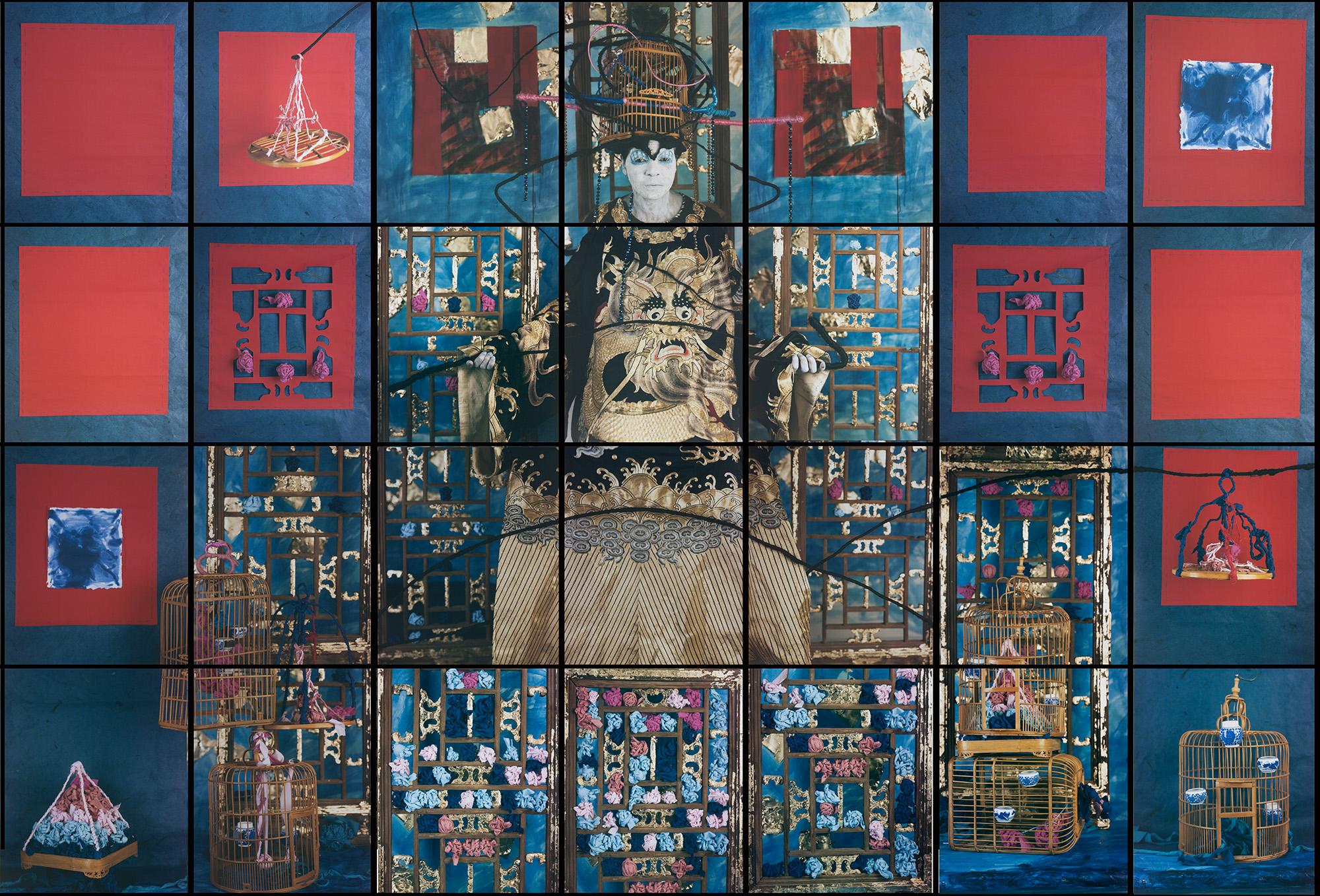 María Magdalena Campos-Pons,  Finding Balance,  2015, Composition of 28, Polaroid Polacolor, Pro 24 x 20 photograph, 96 x 140 inches (243.8 x 355.6 cm)
