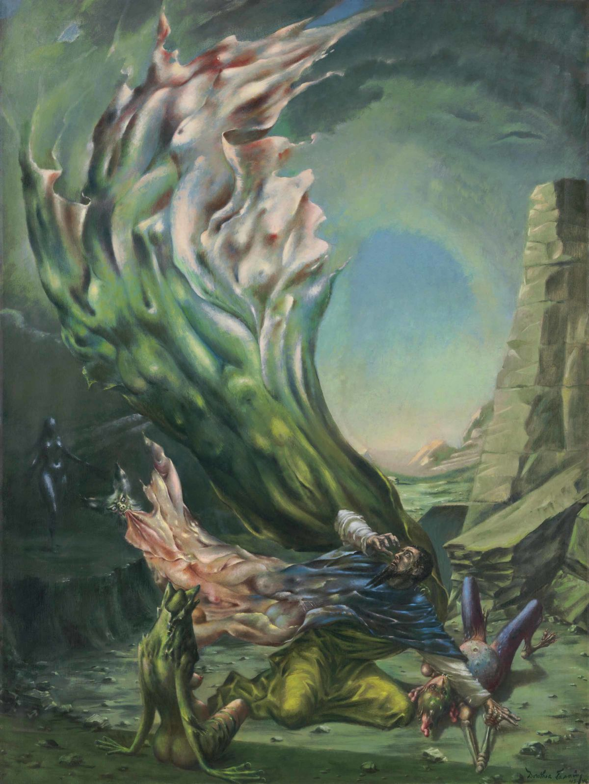 Dorothea Tanning,  The Temptation of St. Anthony , 1945-46. Courtesy of Christie's.