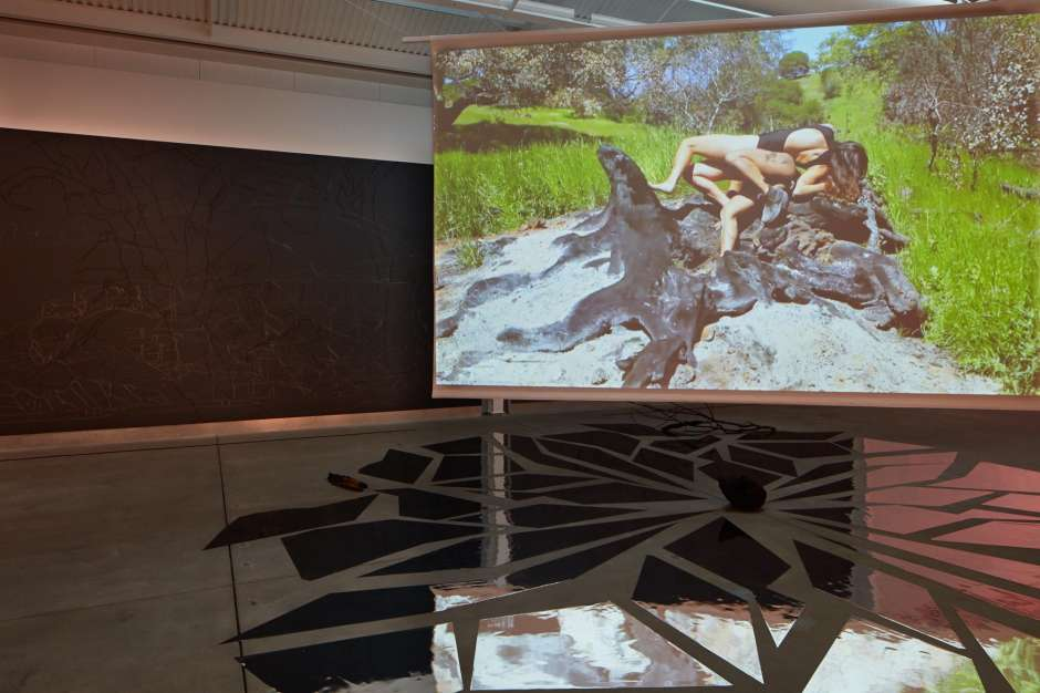 """Ranu Mukherjee's commissioned installation """"Succession"""" combines projected video of dance movement and drawings at immense scale.  Photo: Johnna Arnold / di Rosa Center for Contemporary Art, Napa"""