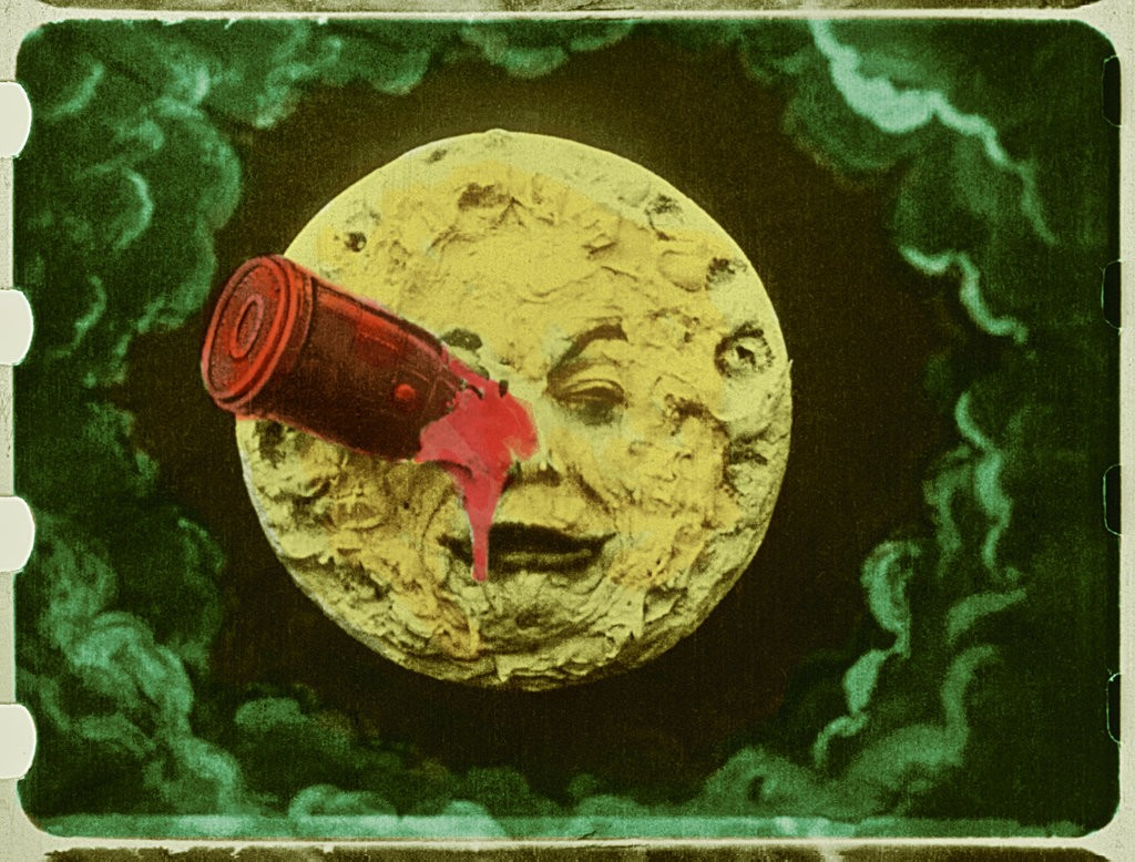 "A rare hand-colored version of Georges Méliès's 1902 silent movie ""A Trip to the Moon"" is projected onto a wall of the museum. Credit Lobster Films — Groupama Gan Foundation — Technicolor Foundation"