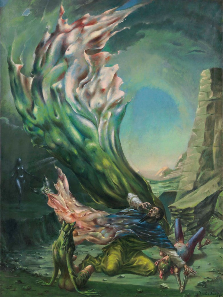 Dorothea Tanning (1910-2012),  The Temptation of St. Anthony , painted in 1945-1946 . 47⅞ x 35⅞ in (121.4 x 91.2 cm). Estimate: $400,000-600,000. Offered in  Impressionist and Modern Art Day Sale  on 16 May at Christie's in New York