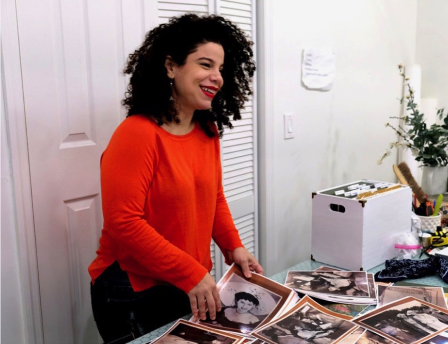Firelei Báez in her studio. Photo by SaVonne Anderson, courtesy of the Studio Museum in Harlem.