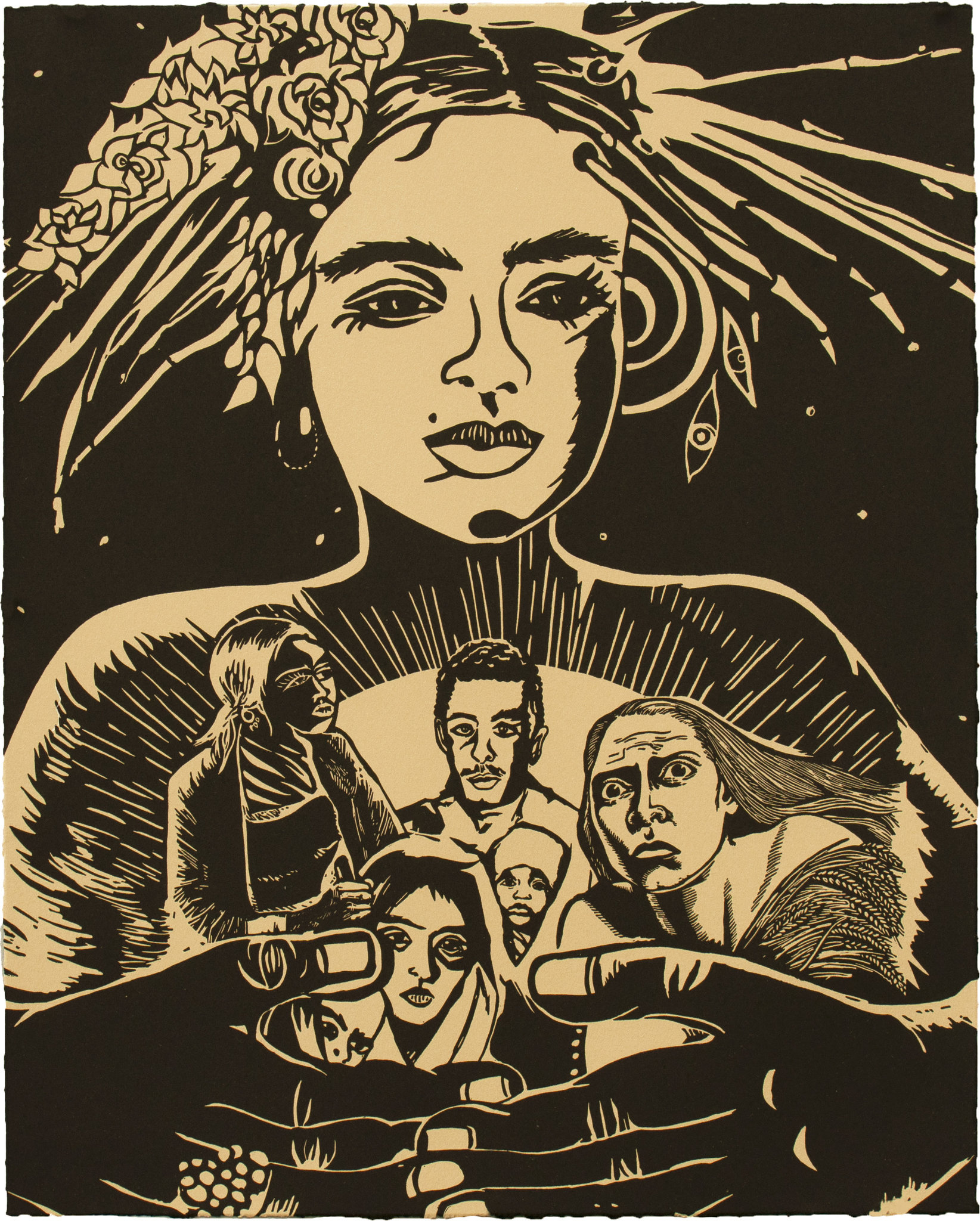 "Chitra Ganesh's linocut print ""Refugees and Queen"" (2018).CreditDurham Press"