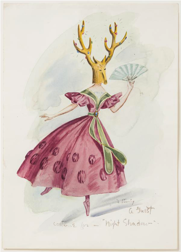 Dorothea Tanning,  A Guest , costume design for  The Night Shadow , a ballet by George Balanchine, 1945, watercolour and wash on paper. Courtesy: the Destina Foundation, New York, and Alison Jacques Gallery, London